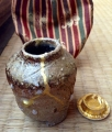 tea caddy with kintsugi